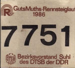 klein StartnummerRennsteig 1986