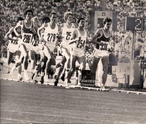 OS 1980 1500 m Straub, Coe, Cram, Ovett, Busse (v.r.