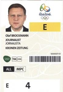 Olaf Brockmann Rio Pressekarte