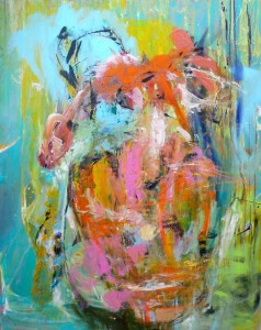 Haag zehn Sturm im Wasserglas Acryl auf Leinwand 80 x100